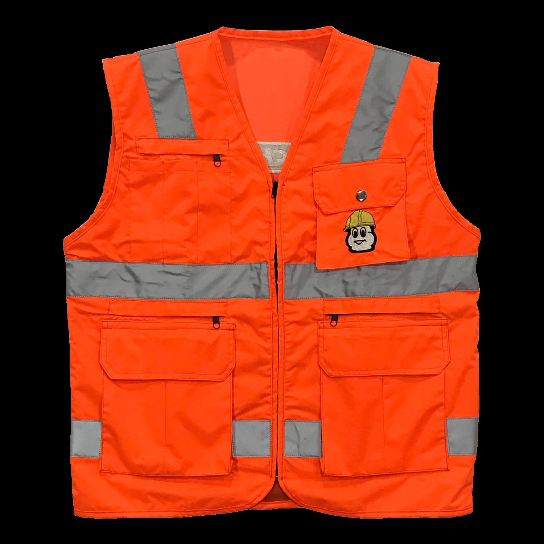 Chalecos empresariales y de seguridad con cintas reflectivas en impermeable, bolsillos según diseño.