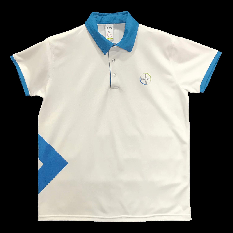 Camiseta tipo polo manga corta en variedad de materiales y marcaciones.